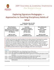 Exploring Signature Pedagogies: Approaches to Teaching
