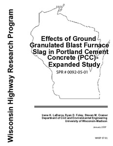 Effects Of Ground Granulated Blast Furnace Slag In Portland Cement