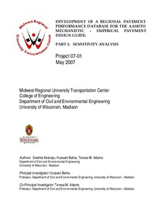 Development Of A Regional Pavement Performance Database For The Aashto Mechanistic Empirical Pavement Design Guide