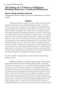 Impact Of A Citation On Underage Drinking Behaviors